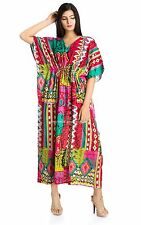 INDIAN COTTON IKAT PRINTED WOMEN KAFTAN TOP TUNIC KURTA DRESS PLUS SIZE CAFTAN