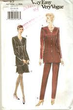 Misses EASY VOGUE Pattern 9302 BELOW HIP JACKET A-LINE SKIRT PANTS 12 14 16