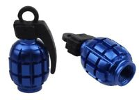 2pcs Grenade Shape Car Motorcycle Bicycle Tyre Valve Dust Cap Cover Blue Bmx Mx