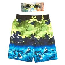 ZeroXposur Boys Island Graphic Swim Trunks with Bonus Goggles Medium (5/6) New