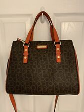Calvin Klein Top Zip Satchel Leather Medium Bag/ Brown-Red/$178/NWT