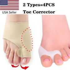 US 2pair Silicone Gel Bunion Toe Corrector Orthotics Straightener Separator Pain
