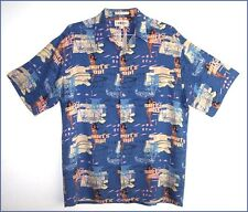 Men's CAMPIA MODA Surf's Up blue rayon short sleeve Aloha shirt - size LG