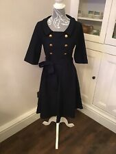 BNWT Miusol Sailor Fit and Flare Swing 50s Style Dress Navy Blue Size 14? Large
