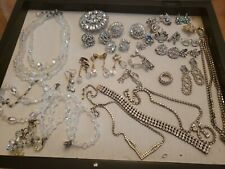 Lot Of Rhinestone Crystal Costume Jewerly Sets Brooches Earrings Necklaces...