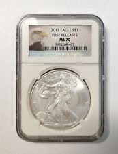 2013 SILVER EAGLE FIRST RELEASE NGC MS70 WITH EAGLE LABEL
