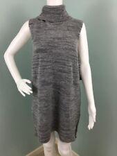 NWT Womens Cynthia Rowley Gray Sleeveless Turtleneck Tunic Sweater Sz L Large