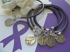 5 PANCREATIC CANCER/ALZHEIMER'S/LUPUS  AWARENESS  LEATHER CHARM BRACELETS