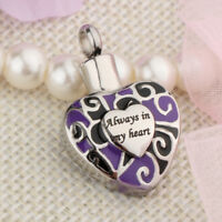 """Always in my heart "" Heart Urn Pendant Memorial Cremation Keepsake Necklace"
