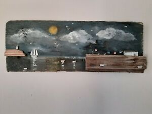 Handmade unique driftwood   sunny coastal cottage harbour picture gift