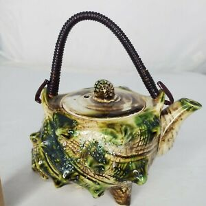 Vintage Porcelain Conch Sea Shell Shaped Teapot Lid and Coiled Metal Handle