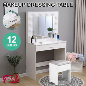 White Dressing Table Set with Stool Large Mirror Drawer Dresser Desk 12 LED Bulb