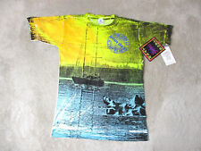 NEW VINTAGE Body Heat Shirt Adult Medium Yellow Boat All Over Print Men 90s B4