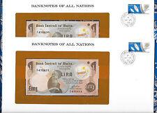 Banknotes of All Nations Malta 1979 1 Pound Lira P 34b UNC 2 consecutive notes