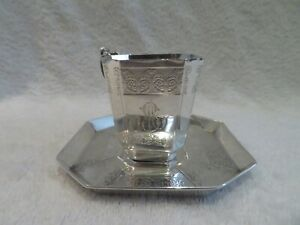 1900 French sterling silver coffee cup Empire st (?) guilloche frieze Beunke l6