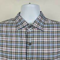 Peter Millar Blue Brown Red Check Plaid Mens Dress Button Shirt Size Large L