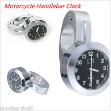 "7/8""Motorcycle Accessory Handlebar Mount Clock Watch Universal Silver waterproof"