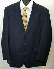 Marco Biella Mens Athletic Fit Sport Coat Size 44L Long Wool Navy Blue 3 Button