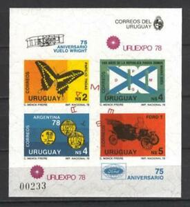 Soccer 1978 C29 MNH Uruguay Block Car Butterflies imperf