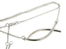 Icthus Christian Fish Pendant Center Sterling Silver Necklace