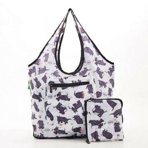 White Scatty Scotty Print Folding Weekend / Shopping Bag By Eco Chic