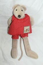 Doudou souris taupe MOULIN ROTY habits rouge a pois 32cm
