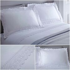 Plain White Lace Cotton Blend Duvet Cover Bedding Sets With Matching Pillowcases