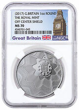 (2017) Britain Royal Mint Off Center Shield 1 oz. Silver Round NGC MS70 SKU46574