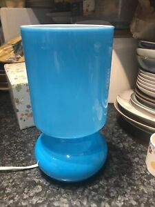 Vintage retro  turquoise blue glass Ikea Lykta lamp with UK plug/working order.