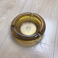 Vintage Amber Glass Small Ashtray Cigar Heavy Thick Mid Century Modern VGC Rou
