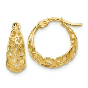 14k 14kt Yellow Gold Polished Hinged Hoop Earrings 16 mm X 15 mm