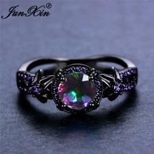 Mystic Rainbow Fire Topaz Flower Ring Purple Amethyst Black Gold Jewelry Sz 6-10