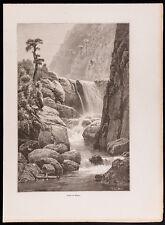 1880 - Gravure : Chutes du Mamoni (Canal du Panama, Darien, Cascade)