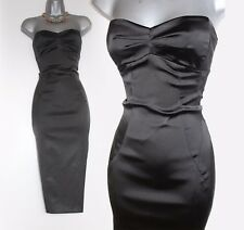 KAREN MILLEN Black Strapless Satin Corset Wiggle Pencil Cocktail Dress UK12 EU40