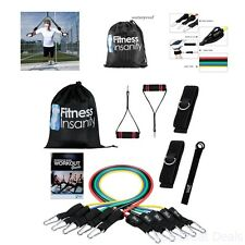 5 Stackable Exercise Rubber Resistance Band Set Waterproof Case Fitness Workout