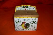 Vintage Ceramic Hanging Salt Box With Wooden Lid and Rooster Motif