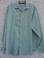 Tommy Bahama Linen Shirt L Aqua Long Sleeve Check Pattern  MINT