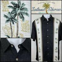 Island Shores Hawaiian Aloha Mens Shirt Size L Palm Trees Black Greens Cruise