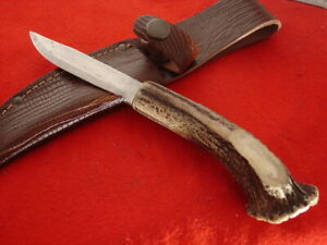 "Unmarked Custom handmade 8.5"" crown stag fixed blade knife & sheath"