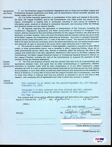Lee MacPhail AL Employee Contract Gust Poulos Scout Signed Don Mattingly PSA/DNA