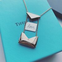 "Tiffany & Co. 18k Sweet Nothings Envelope Necklace 20"" Rose Gold Sterling Silver"