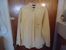 Mens Nautica Size L Yellow Checkered Long Sleeve Button Down Dress Shirt