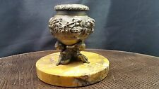Antique Victorian Bronze Inkwell 3 Children Holding Up The Base