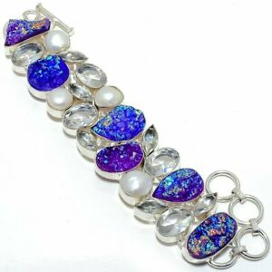"Titanium Druzy, White Topaz, Pearl Silver Fashion Jewelry Bracelet 7-8"" SB4544"
