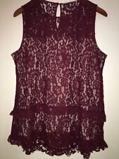 Rose + Olive Burgundy Sleeveless L Womens Blouse
