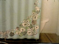 13 pc Fabric SHOWER CURTAIN~HOOKS~Dusty Teal Blue Large Flowers gray Sea shells