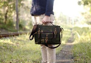 "15"" Classic Old School Waxed Canvas Shoulder Satchel Bag Weather resistant"