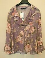 BNWT ZARA LILAC FLORAL PRINT BLOUSE WITH RUFFLES SIZE M