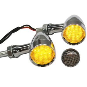 10mm 12V Chrome Stop Running Turn Signals LED Yellow Indicator Light For Harley