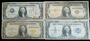 20th Century $1 Silver Certificate Type Set (4) Notes